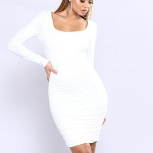Ivory ruched dress